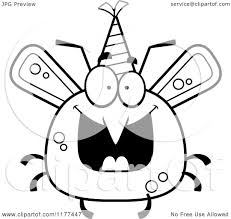 cartoon of a black and white happy birthday mosquito wearing a
