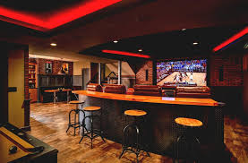 decorating corner bar space basement home theater design l shape
