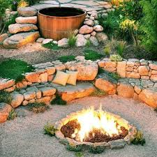 Firepit Rocks Outdoor Great Patio Design With Pit And Propane Glass