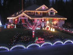 outside led christmas lights withal colorful lights at night