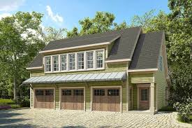 3 bay carriage house plan with shed roof in back 36057dk