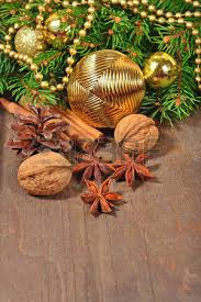 different kinds of spices nuts and cones decorations