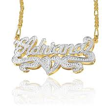 name plates necklaces gold gold silver plate rhodium beaded name necklace