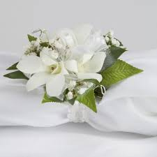 white orchid corsage glam dendrobium orchid wrist corsage martin s specialty store