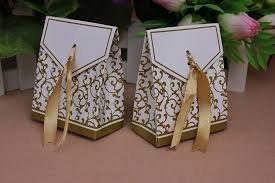 Wedding Favors Box by Patty 50 Gold Gift Boxes Favor Box Wedding