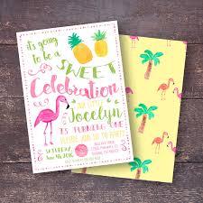 pineapple invitation flamingo invitation tropical party