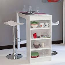 table haute cuisine chili table bar de 2 a 4 personnes style contemporain blanc mat
