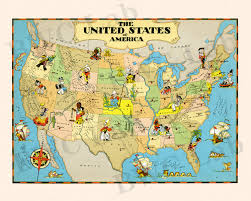 Full Map Of The United States by Pictorial Map Of United States Colorful Fun Illustration Of