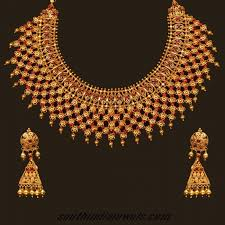 gold choker necklace sets images 22 karat gold choker necklace set with earrings south india jewels jpg