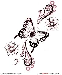 Butterfly Tattoos - amazing flowers and butterfly design