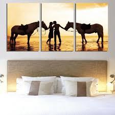 décoration mur chambre à coucher home decor mur peinture 3 pièce amour coucher du soleil plage