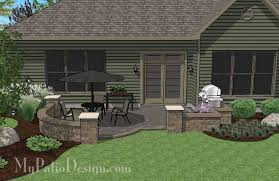 Simple Patio Design Diy Simple Patio Design With Seat Wall Downloadable Plan
