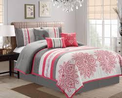 Floral Medallion Duvet Cover Piece Floral Medallion Stripe Pink Ivory Gray Comforter Set