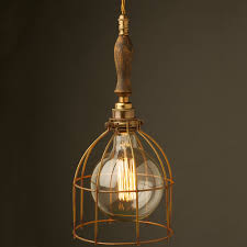 Trouble Light Trouble Light Cage Pendant Wooden Handle