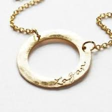 personalized gold necklaces personalized gold name necklace on a circle ring piccola jewelry