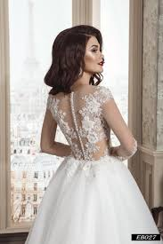 illusion neckline wedding dress eb027 a line with illusion neckline sleeves and back wedding
