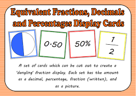 equivalent fractions decimals and percentages display cards by