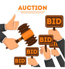 bid auction bidding auction mobile phone bid button vector image