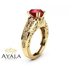 Ruby Wedding Rings by Unique 2 Carat Ruby Ring 14k Yellow Gold Alternative Ring Ruby