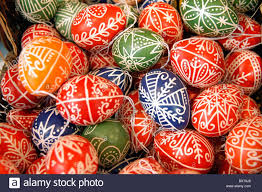 decorative eggs for sale traditional painted eggs for sale in craft shop stock photo