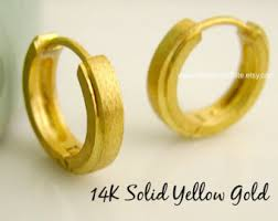 mens gold earrings men s earrings hoops plated in yellow gold half matte