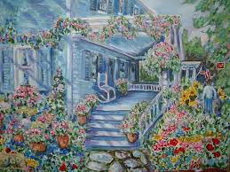 Painting Of House by Andree Lisette Herz Artwork Blue House With Flowers Original