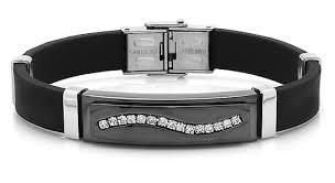 men rubber bracelet images Men 39 s stainless steel rubber bracelets jpg