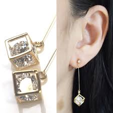 dangle clip on earrings in gold cube invisible clip on earrings non pierced