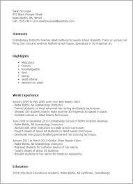 Resume Examples For Bartender by Professional Cosmetology Instructor Templates To Showcase Your