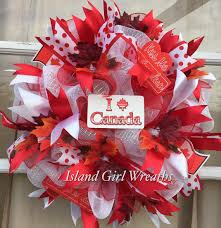 Christmas Decorations Cheap Canada by Canadian Day Wreath Deco Mesh Canadian Wreath By Islandgirlwreaths