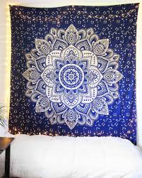 Wall Tapestry Bedroom Ideas Navy Blue U0026 Sparkly Gold Mandala Tapestry Mandala Tapestry