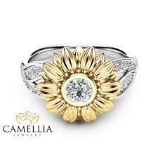 sunflower engagement ring unique engagement ring 14k gold ring sunflower