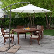 Patio Table Parasol Square Offset Patio Umbrella Over Patio Table And Chairs Set And