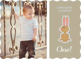 taupe easter bunny first birthday invitation first birthday