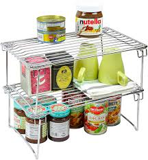 Kitchen Cabinet Organizer Amazon Com 2 Pack Decobros Stackable Kitchen Cabinet Organizer
