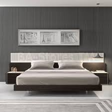 Contemporary Platform Bed Frame Porto Light Grey Lacquer And Wenge Contemporary Platform Bed