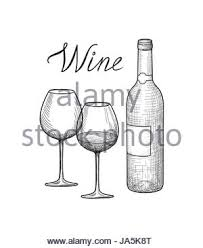 wine set wine glass bottle handwritten lettering vineyard