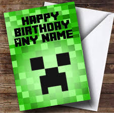 minecraft personalised birthday card the card zoo
