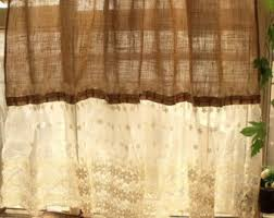 Burlap Ruffle Curtains Shabby Washed Rustic Chic Burlap Shower Curtain Lace Ruffles