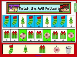 pattern games kindergarten smartboard christmas math freebie for smartboard match the aab pattern