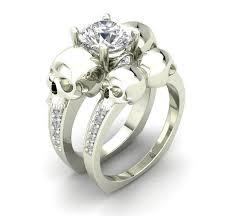 Skull Wedding Rings by Platinum White Gold Skull Engagement Ring Genuine Diamond Center