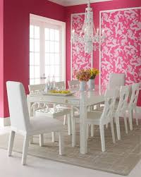 charming dining room with pink wall deor white dining table and