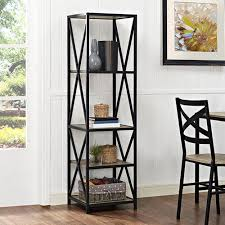 Metal And Wood Bookshelves by Gray Bookcases Home Office Furniture The Home Depot