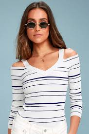 cold shoulder sweaters bb dakota apollo blue and white striped sweater