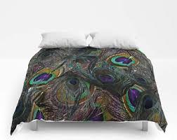 Peacock Feather Comforter Set Peacock Bedding Etsy
