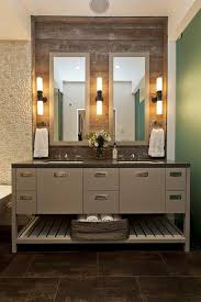 interior minimalist brown bathroom vanity set on brown stoned