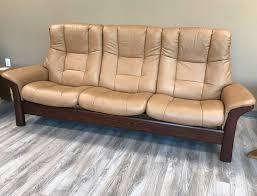 stressless buckingham 3 seat high back sofa paloma taupe color