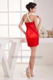red short mini beaded party cocktail dresses