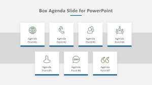 a simple easy to edit box themed agenda slide for powerpoint