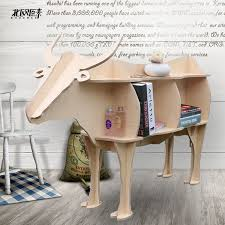 scandinavian bovine animal mascot shelving creative shelves wooden